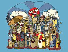 'cartoon character funny monster beach' by Chris olivier Graffiti Wall, Wall Murals, Framed Prints, Canvas Prints, Art Prints, Umbrella Cartoon, Doodle Monster, Graffiti Cartoons, Funny Monsters