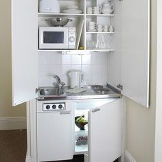 simple white micro kitchen