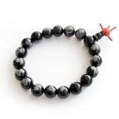 10mm Black Agate Beads Tibetan Buddhist Prayer Meditation Wrist Mala Bracelet -- Additional details @ http://www.amazon.com/gp/product/B0064C7542/?tag=finejewelry4u.com-20&pno=030716062702