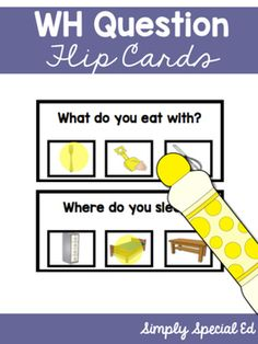 These WH question flip cards include over 100 flip cards to get your special education students working on simple WH questions! Includes:- What- Who- When- Where- WhyEASY prep, just laminate, cut, add a binder ring and you are ready to go! Perfect for SLPs, early childhood, Autism, and more!