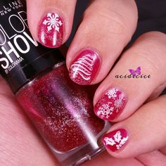 Christmas Nail Art, Maybelline, Wine Shimmer, stamping, essence, white stampy polish, Color Club, Worth The Risque, BP-01, QA58