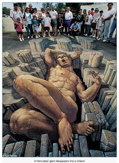 Street painting, also commonly known as pavement art, chalk art, and sidewalk art, is the performance art of rendering original and non-orig. 3d Street Art, 3d Street Painting, Amazing Street Art, Street Art Graffiti, Street Artists, Amazing Art, Awesome, 3d Painting, Street Work