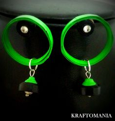Handmade waterproof quilled earrings material : acid free paper with swarovski flat base. KM Q40