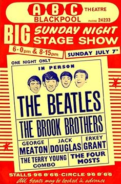 """The Beatles - ABC Theatre, Blackpool."" Fantastic A4 Glossy Art Print Taken from A Vintage Concert Poster by Design Artist http://www.amazon.co.uk/dp/B0155Z50XG/ref=cm_sw_r_pi_dp_mVs8vb16S825F"