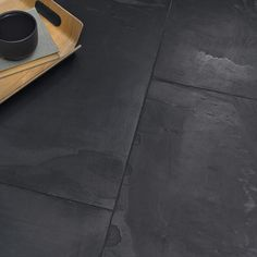 Stunning satin touch Brushed Black Natural Slate Tiles are an exceptional natural stone for use throughout the home. Black Slate Floor, Slate Floor Kitchen, Black Tiles, Kitchen Flooring, Slate Wall Tiles, Slate Bathroom, Slate Flooring, Bathroom Black, Design Bathroom