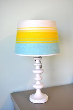 I have been in search of what to do with the lampshade in Jude's room.  This is perfect.  Love    Social Salutations: Ombre Lampshade - My Take