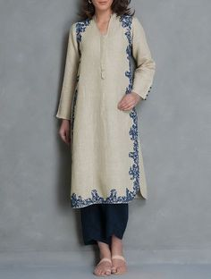 Buy Beige vy Navy Dori Embroidered Linen Kurta Apparel Tunics & Kurtas Online at Jaypore.com