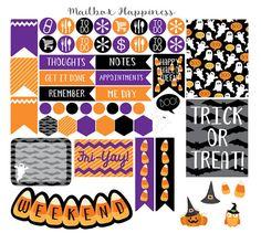 Erin Condren Planner Stickers, Halloween Planner Stickers, Life Planner Decorative Stickers, Planner Accessory Kit, ECLP Sticker Kit