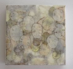"Ali Herrmann | Passing Showers | paper collage, lunaria seed pods and encaustic wax, 6""x6""x1.5"" /sm"