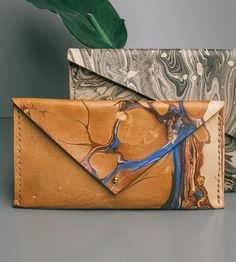 Hand-Dyed Marbled Leather Clutch Wallet by Molly Virginia Made on Scoutmob