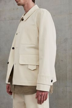 Studio Nicholson Exudes Sophisticated Minimalism: Clean lines inform the relaxed silhouettes. Denim Jacket Men, Denim Jackets, Men Shorts, Men's Denim, Jean Jackets, Popular Mens Jeans, Modular Wardrobes, Studio Nicholson, Ck Jeans