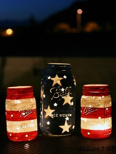 What a great idea! Light up the backyard patio with safe candle lighting in painted mason jars.