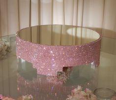 18 Round Pink Crystal Covered cake stand by POSHWeddingDecor, $400.00
