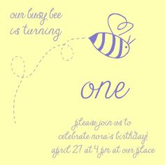 Bumble bee birthday party theme. (Busy bee invitation.) Calm Cradle Photo & Design