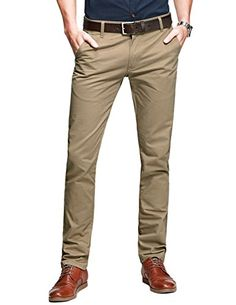Match Mens Slim-Tapered Flat-Front Casual Pants Match garments men's breathable chino pants is designed with straight leg cutting & dual stitch craft, which Slim Pants, Casual Pants, Khaki Pants, Formal Pants, Men Pants, Kakis, Skinny Suits, Style Masculin, Shirt Tucked In