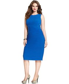 Calvin Klein Plus Size Dress, Sleeveless Shutter Cocktail