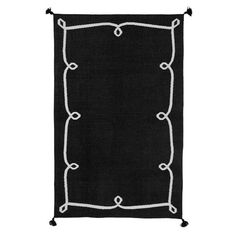 Scroll Border Dhurrie Rug, Black | PBteen