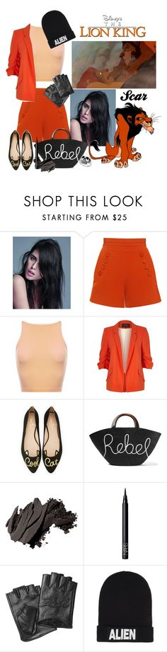 """""""Scar"""" by allyssister ❤ liked on Polyvore featuring Balmain, Disney, Finders Keepers, River Island, Kate Spade, Eugenia Kim, Bobbi Brown Cosmetics, NARS Cosmetics, Karl Lagerfeld and Nicopanda"""