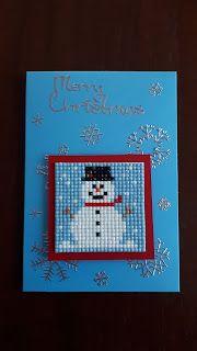 KleuriG: (Kerst) kaarten maken van overgebleven steentjes van Diamond Painting Christmas Perler Beads, Christmas Cross, Painted Christmas Cards, Christmas Decorations, Cross Stitch Embroidery, Cross Stitch Patterns, Diamond Paint, Marianne Design, Black Jewelry