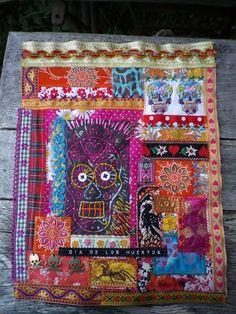 Colourful Dia de los Muertos textile art hanging by artymess
