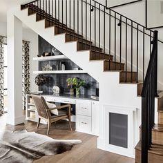 Office Under Stairs, Under Stairs Nook, Under Stairs Cupboard, Under Staircase Ideas, Kitchen Under Stairs, Hallway Office, Home Office, Under Stairs Storage Solutions, Under Stair Storage