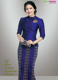 Myanmar Fashion Catalog and Gems and Jewelry Catalog. Traditional Dresses Designs, Traditional Fashion, Traditional Outfits, Batik Fashion, Skirt Fashion, Fashion Dresses, Filipiniana Dress, Myanmar Dress Design, Kebaya Dress