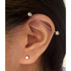 Twitter / y3n_j3ann3: Industrial piercing.. Healing ... ❤ liked on Polyvore featuring jewelry, earrings, ear, piercing and earring jewelry