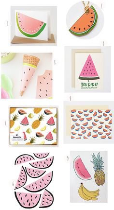Watermelon Stationery Round Up by Oh So Beautiful Paper: http://ohsobeautifulpaper.com/2014/06/watermelon-stationery-round-up/ | 1. + 2. Yellow Owl Workshop; 3. + 4. Hello!Lucky Stationery; 5. Hartland Brooklyn; 6. mengsel; 7. Idlewild Co; 8. Design Eat Repeat | Click through for full links and resources!
