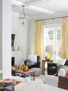 Room with a View- love the TALL yellow panels with light grey paint and white trim!