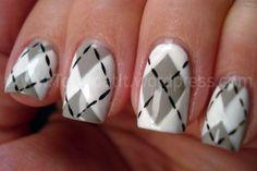 Argyle nail art.