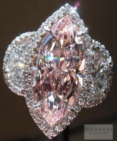 Jewelry Diamond : Pink Diamond Ring: 3.09ct Fancy Pink VS2 Marquise Diamond.