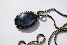 Orion's Garter Belt Nail Polish Pendant - Necklace Woman Teen Girl Jewelry Gifts Under 20 Oval Blue Wedding by TartanHearts on etsy // This 25 x 18mm glass cabochon is painted with nail polish and sits in a metal lace setting. It hangs on an adjustable 16-20 chain necklace, handmade by me! galaxy night sky