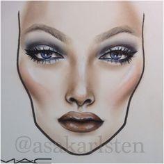 Beautiful Face Chart by @AsaKarlsten #makeup #FaceChart