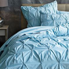 Organic Pintuck Duvet Cover   Shams - Sea