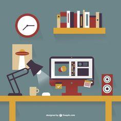 Bureau en accessoires getekend in flat design. Mooie combinatie van kleuren. Zeer flat, weinig schaduw gebruik.