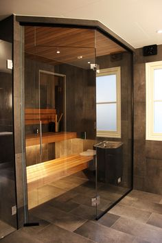 Glasbastu Sauna Design, Home Gym Design, Rustic Home Design, House Design, Sauna House, Sauna Room, Bathroom Interior Design, Home Interior, Modern Saunas