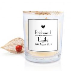 Personalised Decorative Wedding Scented Candle - Bridesmaid