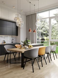 A house in Saint Petersburg by Cartelle Design - PLANETE DECO a homes world - A house in Saint Petersburg by Cartelle Design - Interior Design Examples, Interior Design Inspiration, Decor Interior Design, Interior Decorating, Style Inspiration, Yellow Dining Room, Dining Room Table, Kitchen Dining, Dining Rooms