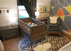 Modern Gray, Orange and Yellow Nursery - Project Nursery