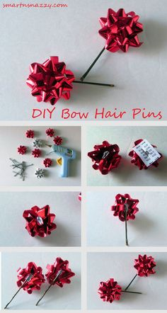 Smart n Snazzy: 12 DIYs of Christmas ~ Day 1 ~ DIY Bow Hair Pins - List of the best Women's Hairstyles All I Want For Christmas, Christmas Bows, Winter Christmas, Christmas Crafts, Christmas Decorations, Christmas Clothes, Diy Christmas Hair Accessories, Diy Hair Accessories Easy, Christmas Headbands