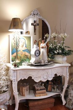 "Catholic Home Altar.the Matchmaker leads couples to an altar devoted to knitting to ""stitch"" them together for life Home Altar Catholic, Muebles Shabby Chic, Prayer Corner, Prayer Room, Blessed Mother, Home And Deco, Kirchen, Religious Art, Christmas Home"