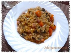 Recetas Light - Adelgazaconsusi: Arroz con champiñones, zanahoria y jamón Grains, Rice, Recetas Light, Healthy, Food, Chickpeas, Vegetables, Dishes, Moroccan Cuisine