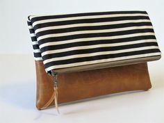 Foldover Clutch Vegan Leather Clutch Bag by MaddieKayHandbags