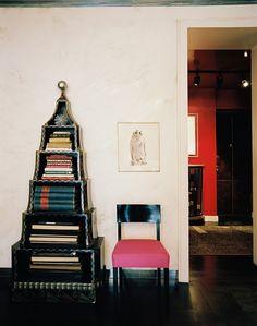 Albert Hadley Black Pagoda Bookcase