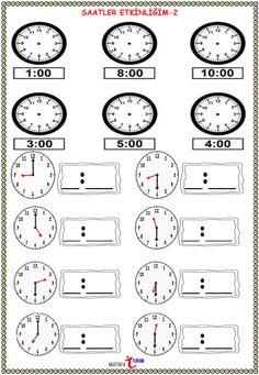 2. Sınıf Matematik Saatler Konusu Etkinliği - Çalışma Kağıdı | Eğitim Destek Sitesi