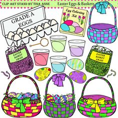Clip Art Easter Eggs and Baskets from ClipArtStand by Tina Anne on TeachersNotebook.com -  (18 pages)  - A unique collection of Easter baskets and dying eggs for Easter crafts, lesson plans, and work sheets.  Use for personal and commercial products.