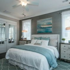 White and Blue Bed Covers in Small Modern Bedroom Decorating Design Ideas