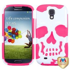 Amazon.com: Ivory White/Electric Pink Skullcap Hybrid Protector Cover: Cell Phones & Accessories