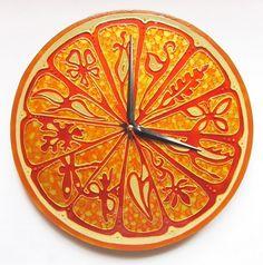 """Купить Часы """"Золотой апельсин"""" - часы интерьерные, часы настенные из стекла, часы стеклянные, апельсин"""