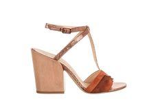 orange/brown T-bar sandal - fiorifrancesi